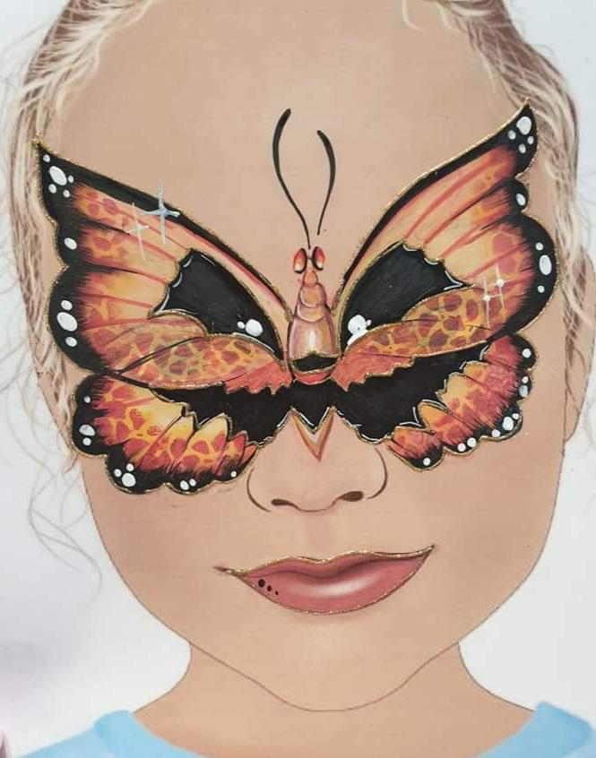 Maquillage fille professionnel papillon orange citrouille halloween