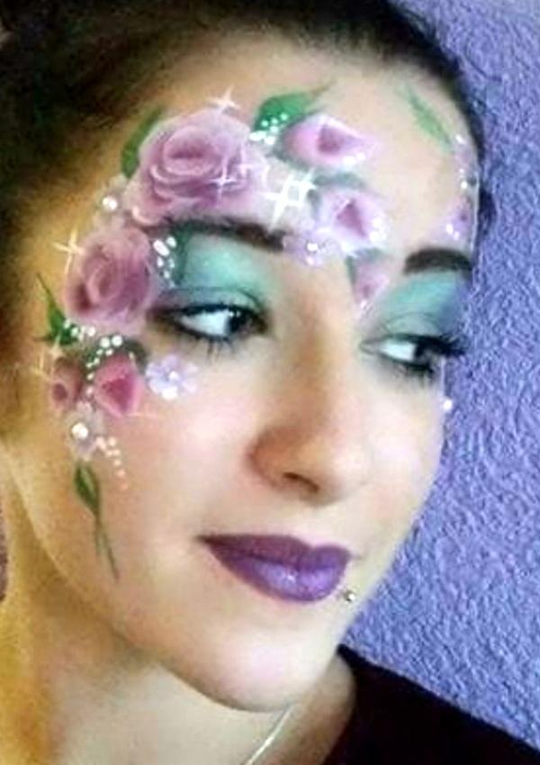 maquillage professionel fille anniversaire fleur rose violet